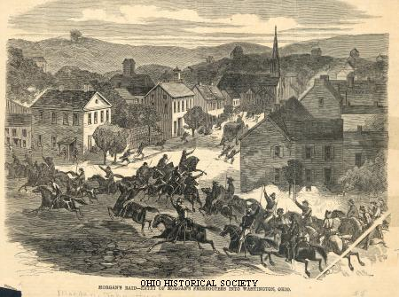 Entry_of_Morgan's_Raiders_into_Washington,_Ohio - Ohio History Central